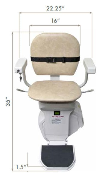Ameriglide Stairlift dimensions - Ohio Walk-in Showers and Stairlifts