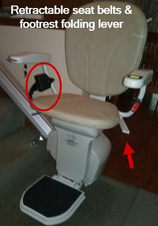 Retractable seat belts & accessible footrest folding lever